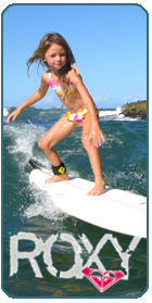 Roxy clothing brand designs apparel accessories for girls who love surf, snowboard, music, fashion: outerwear, jackets, jeans, pants, sweaters, tees, shirts, dresses, swimwear, wetsuits, footwear, shoes, bags, backpacks, watches, sunglasses, perfume, snowboards, skis. Discounts, events, pro rider photos, catalog, store, lookbooks, logo, blog. Quiksilver Inc