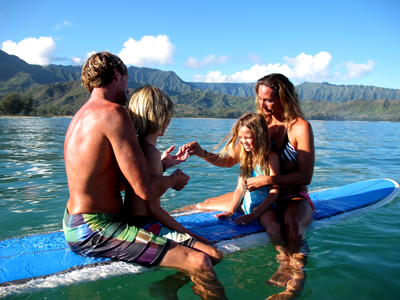 Renewing our wedding vows with the kids at Hanalei Kauai