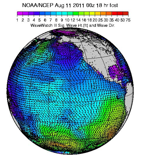 Pacific Wave Model - Hawaii, Mexico, California and Baja
