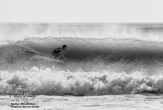Micah Gore surfing tropical Storm Cindy at South Padre Island jetties