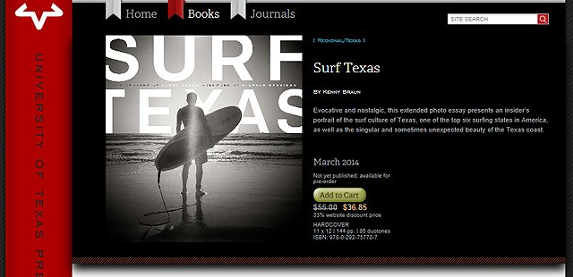 New book featuring the beautiful Texas Surf Photography by Kenny Braun