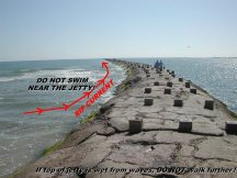 South Padre Island's North Jetty - Great Fishing but use EXTREME CAUTION